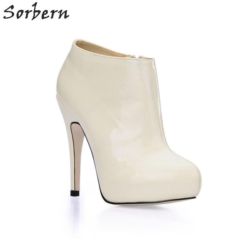 Здесь продается  Sorbern Elegant Ivory Patent Leather Ladies Shoes Ankle Boots High Heels Platform Custom Colors Size 35-43 New Arrival 2018  Обувь