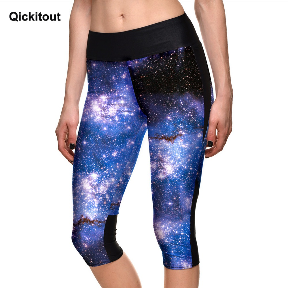 Qickitout   Capri     Pants   Women's 7 Point   Pants   Women's Fantasy Galaxy Print   Pants   High Waist Side Fitness   Pants
