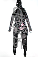 Suitop Men's full cover body latex catsuit 0.4 rubber zentai with penies condom for male(back zip)(open nose only)