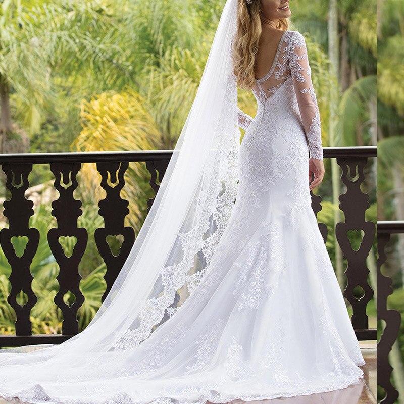 Vestidos de novia Sexy Lace Mermaid Wedding Dress 2019 Cheap Long Sleeves Beach Wedding Gowns Custom Made Robe de mariee