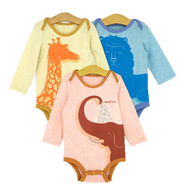 New Printed Baby Bodysuits 0-24 Months 100% Color Cotton Infant Boys Girls Bodysuits Spring Autumn Newborn Kids Clothing