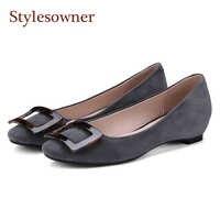 Stylesowner 2018 الربيع الصيف النساء حذاء مسطح التربيعية إبزيم جولة تو الانزلاق على جلد الغزال عارضة مريحة الأحذية موهير