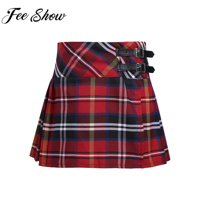 FEESHOW Kids Girls Skirt School Uniform Side Split Plaid Skirt with Faux Leather Buckle Princess Girl Miniskirt Daily Wear