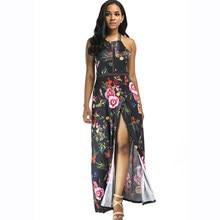 Berydress Sexy Backless Maxi Dress Halter Neck Print Floral Side Slit  Vestidos Beach Party Casual Long Women Dresses 2018 Summer 1a6925d82ffa