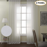 MOMO White Solid Sheer Curtains Rod Pocket Window Drapes Curtains For Bedroom Living Room Curtain With Custom Size (2 Panels)