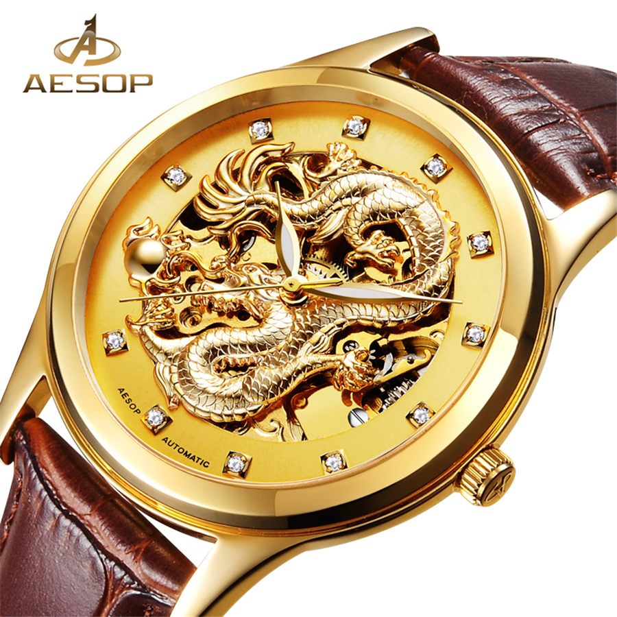AESOP Chinese Dragon Skeleton Design Gold Watch Mens Watches Top Brand Luxury Automatic Mechanical Genuine Leather Male Watch mens mechanical watches top brand luxury watch fashion design black golden watches leather strap skeleton watch with gift box