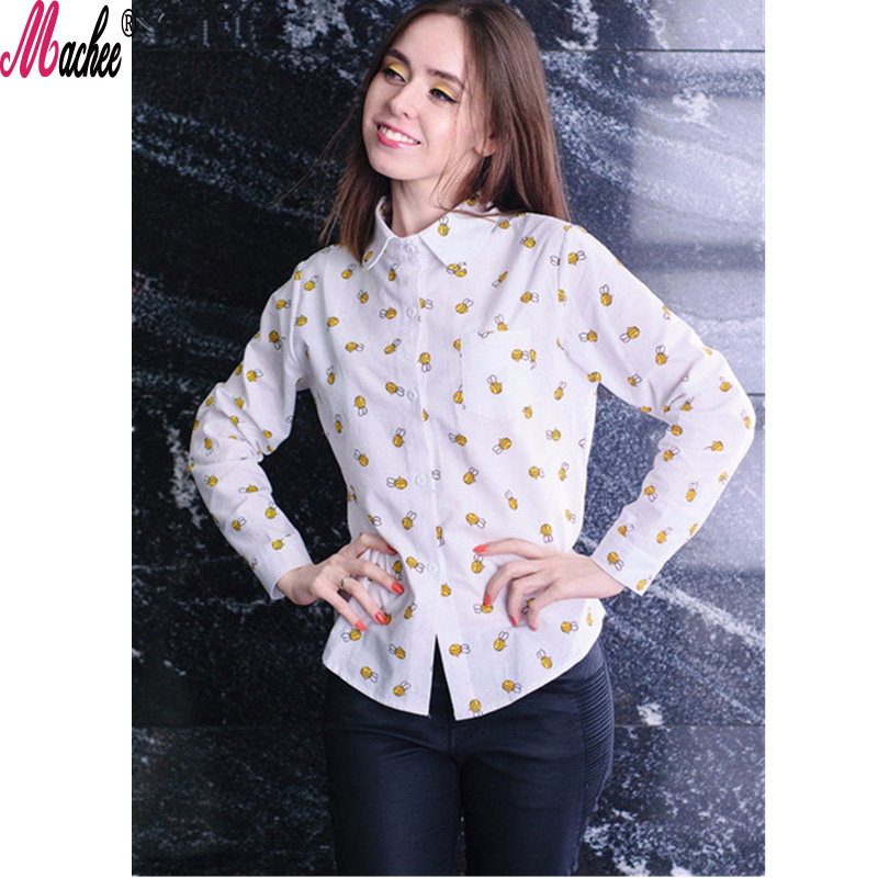 2018 Ladies White Shirt Autumn Fashion blouses for School Girl Long Sleeve Women Blouses Animal Print Tops Blusas Feminine Bluse