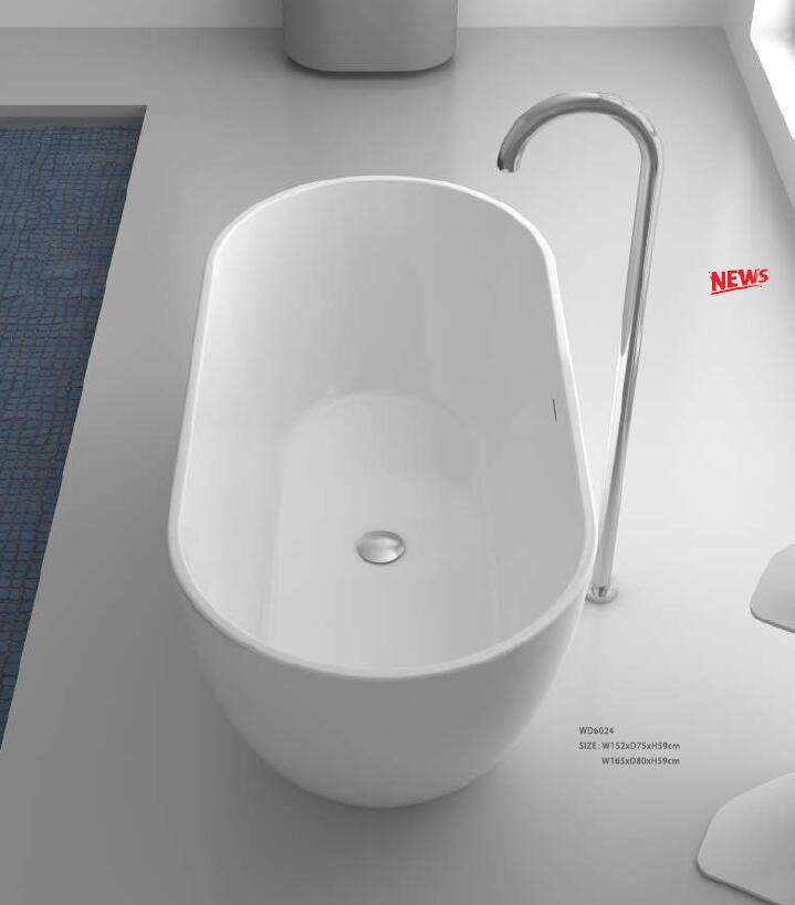 1650X850X590mm CUPC Approval Acrylic with Fiberglass Resin bathtub Freestanding Ultra-thin edge Seamless Tub 6024