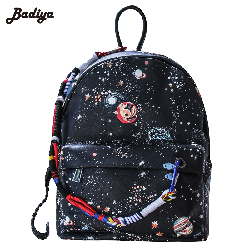 PU Leather Star Sky Printing Backpack Women College Style Unique Pendant Bag School Bags For Teenagers
