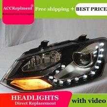 Автомобильный Стайлинг для VW polo головной светильник s angel eyes 2011- для VW polo светодиодный светильник Q5 bi xenon объектив Светодиодный лампа СВЕТОДИОДНАЯ Лампа для проектора