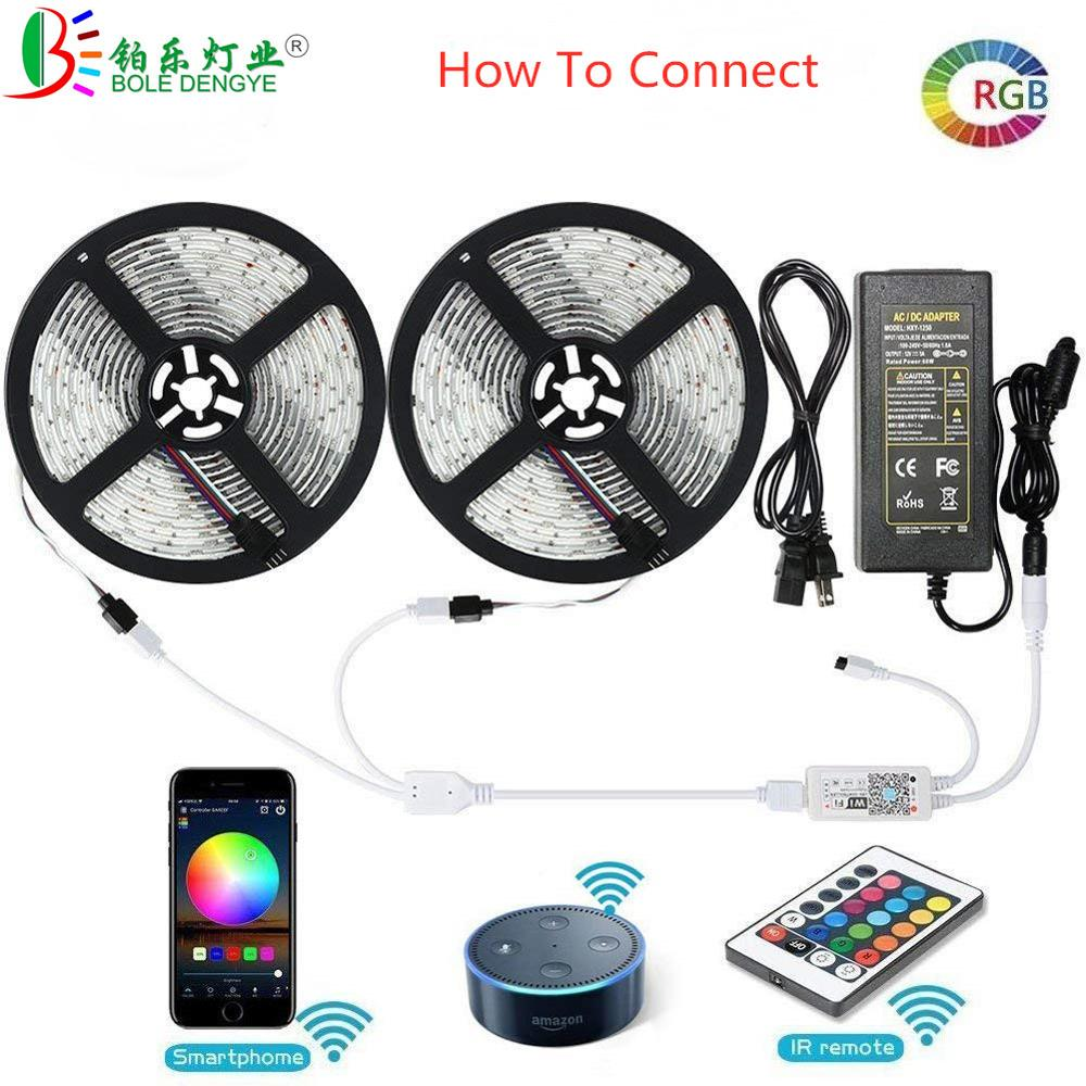Image 2 - 5050 RGB LED Strip Phone Control Wireless WiFi Tape Works With Amazon Alexa Google Home IFFFT DC 12V Flexible Strip Light+Power-in LED Strips from Lights & Lighting