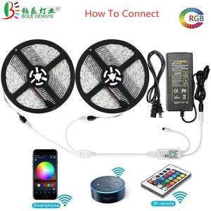 Image 2 - 5050 RGB LED Strip Phone Control Wireless WiFi Tape Works With Amazon Alexa Google Home IFFFT DC 12V Flexible Strip Light+Power