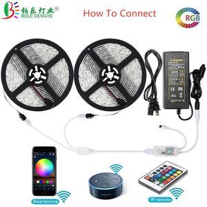 Image 2 - 5050 rvb LED bande téléphone contrôle sans fil WiFi bande fonctionne avec Amazon Alexa Google Home IFFFT DC 12V Flexible bande lumière + puissance
