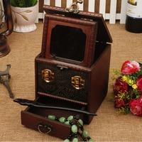 Small Retro jewelry box with lock Classical Desktop storage box Mirrored dressing box wooden Retrp cosmetic case dropshipping