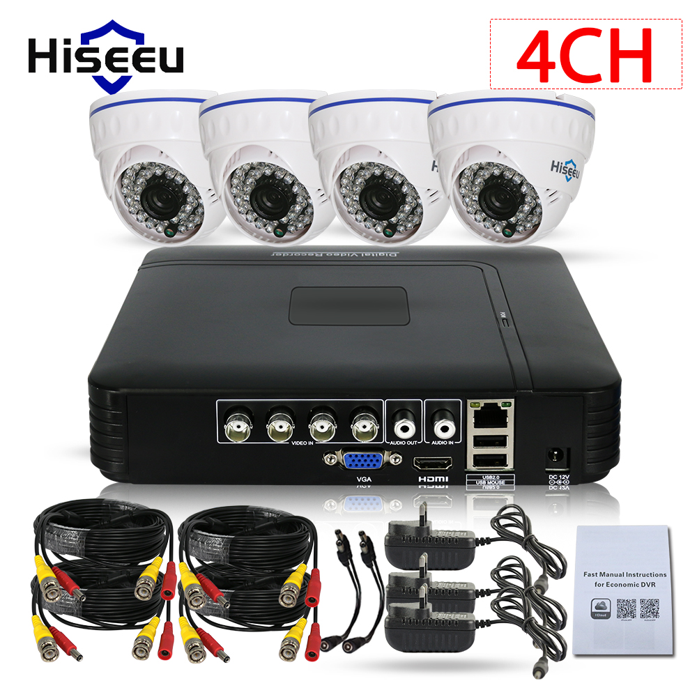 CCTV Camera DVR System AHD 720P Kits 4 Channel CCTV DVR HVR NVR 3 in 1 Video Recorder Infrared Dome Camera Security