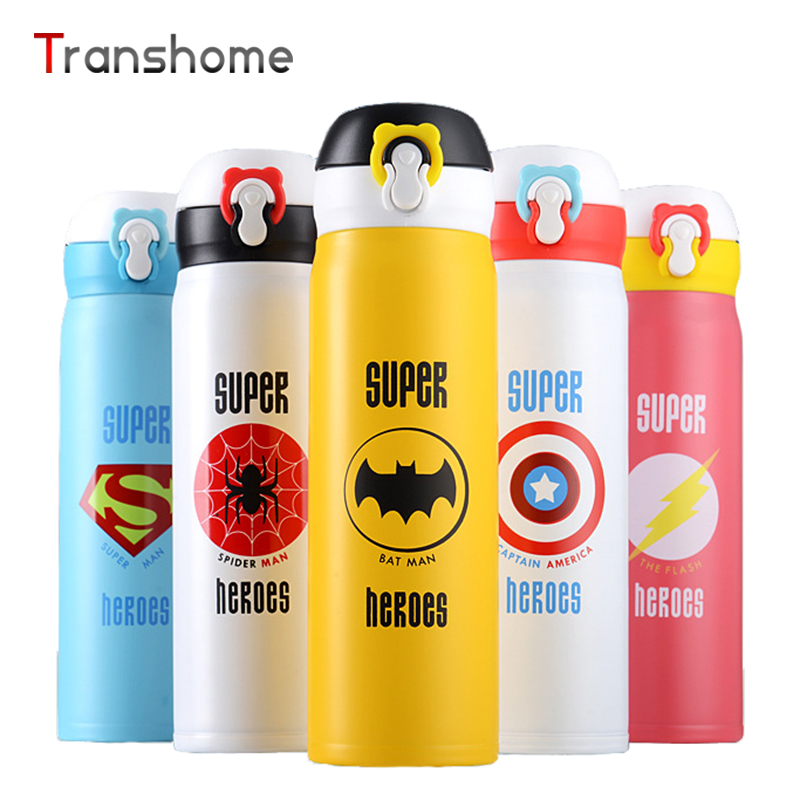 Super <font><b>Hero</b></font> Thermos Vacuum Stainless Steel Superman <font><b>Spiderman</b></font> Funny <font><b>Water</b></font> <font><b>Bottle</b></font> For Kids Thermocup 350ML Transhome
