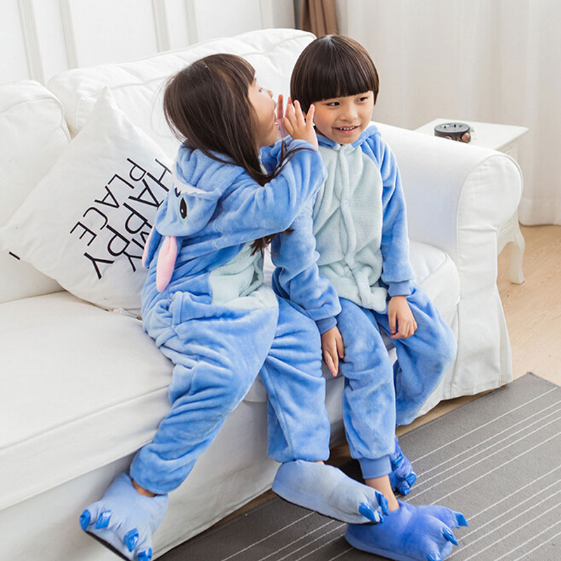 Blue Pajamas Onesie For Kids Anime  Cosplay Costume Blue Flannel Warm Cute Nightwear Little Boy Girl Jumpsuit Kigurumi