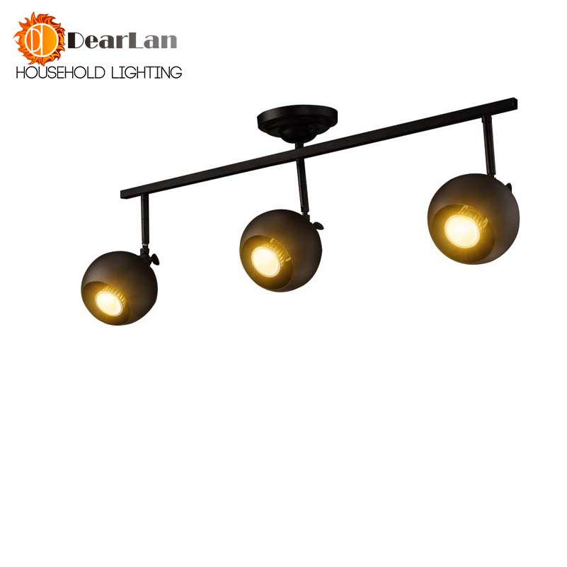 Modern Industrial Iron <font><b>Ceiling</b></font> Lamp For Clothes Store Cafe,Creative <font><b>Ceiling</b></font> Track Spotlight Lighting,Popular Indoor Led Lamps