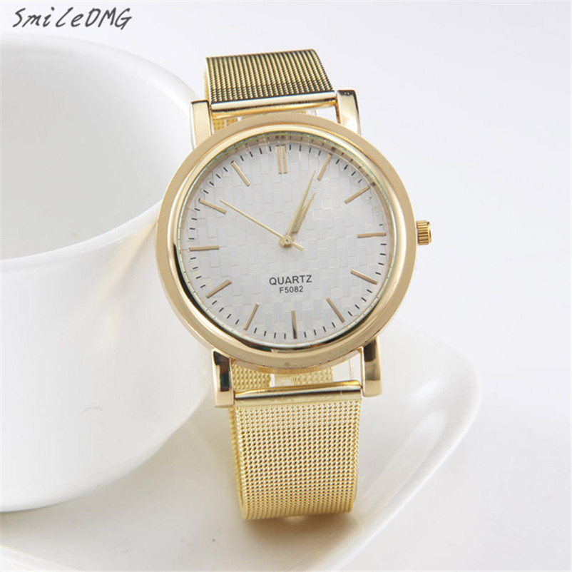 SmileOMG Hot Marketing New Gold Classic Womens Quartz Stainless Steel Wrist Watch Lady style Free Shipping