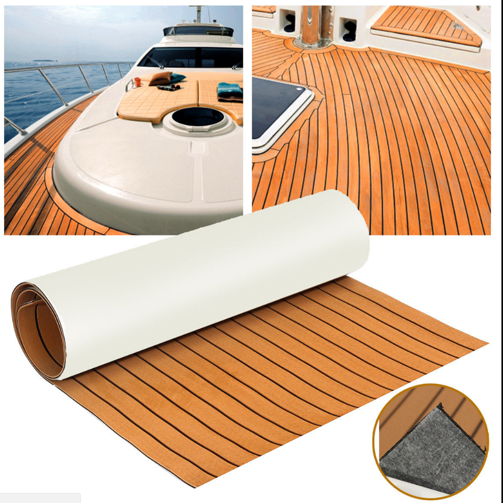 6MM Self Adhesive EVA Foam Teak Sheet Marine Boat Yacht Synthetic Decking Foam Floor Mat Flooring Black Lines