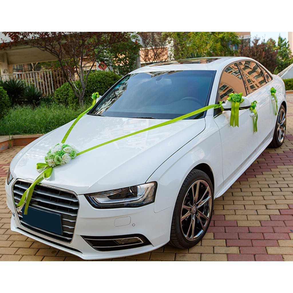 Wedding Car Decoration Kits 5 Meters Ribbons 6 Large Flower Bows