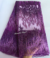 Allover Big Korea Stones Purple French Lace Mesh Net Lace African Tulle Fabric Super Rich Top