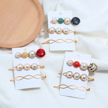 Bohopan 3PCS/Set Classic Fashion Pearl Hair Clips Set Snake Skin Pattern Pins For Women Vintage Natural Stone Jewelry Trend