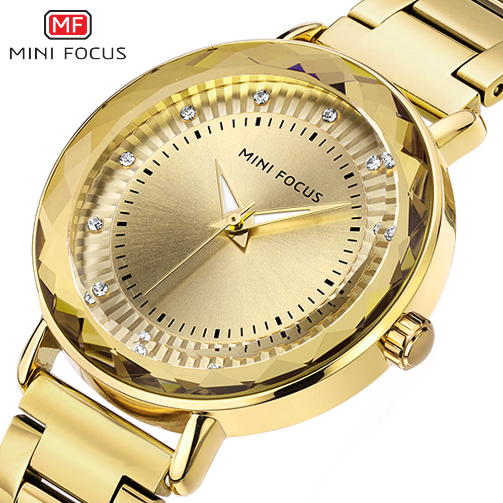 MINIFOCUS Fashion Golden Watches Women Quartz Watches Ladies Top Brand Luxury Female Wrist Watch Girl Clock Relogio Feminino fashion luxury clock women watch woman watches brand quartz ladies wrist watches relogio feminino wristwatches female clock2018