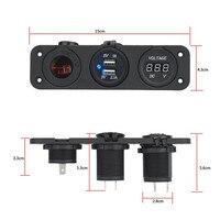 2017 nueva caliente 3 IN1 coche impermeable triple Puerto USB cargador + voltímetro + Mecheros 12 V Car-styling alta calidad