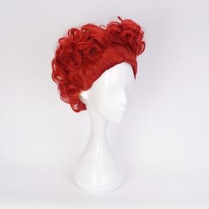 Image 4 - Alice in Wonderland Red Queen Cosplay Wig Queen of Hearts Red Heat Resistant Synthetic Hair Wigs + Wig Cap