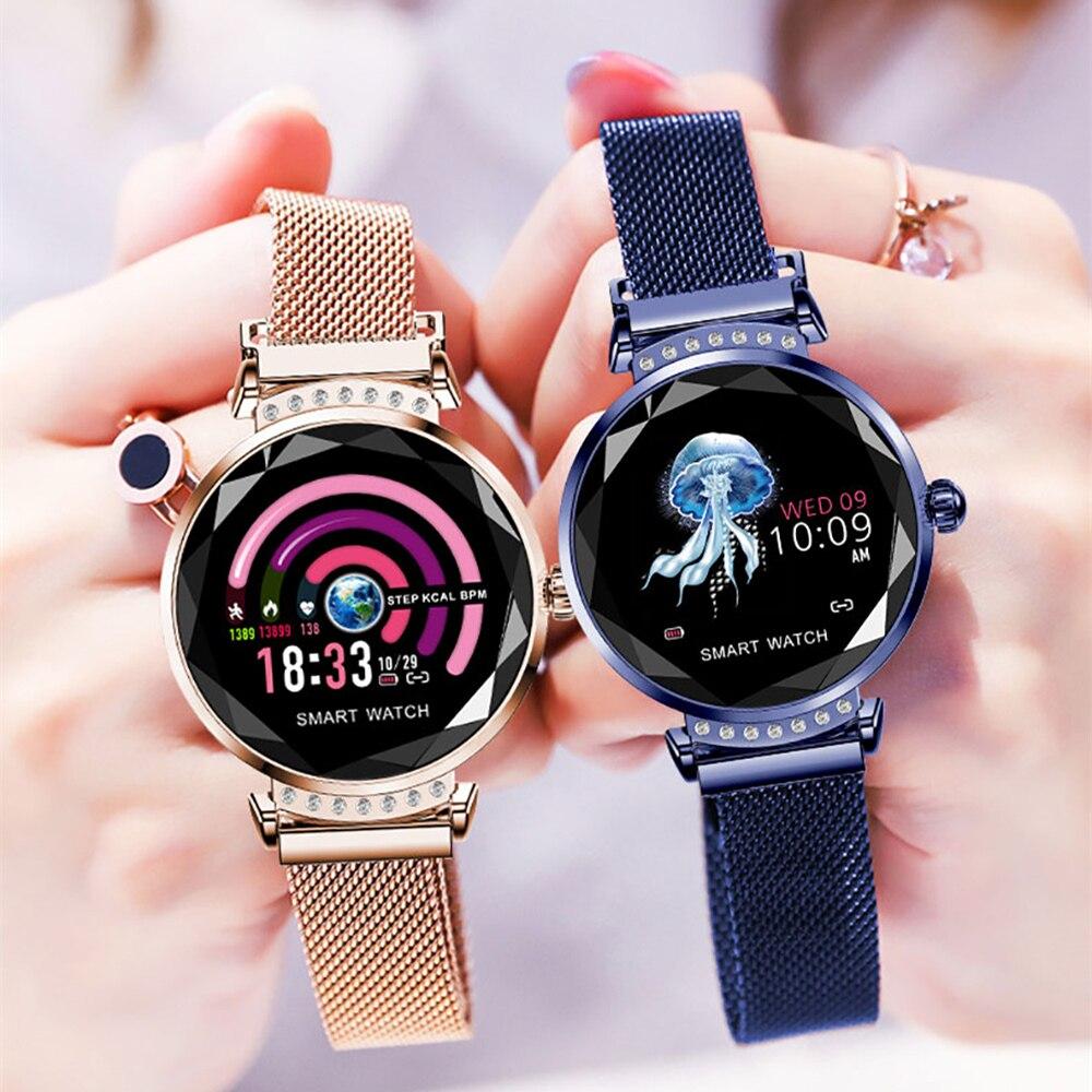 H2 Huacp Moda Relógio Inteligente Mulheres Estilo 3D Diamante Coração De Vidro Taxa de Pressão Arterial Monitor de Sono Presente de Aniversário senhora rastreador
