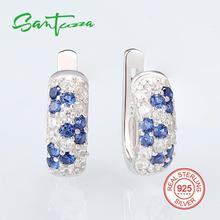 Серебряная шпилька цветок серьги для женщины сине-белые кубического циркония камень Твердые 925 серебряные серьги ювелирные изделия