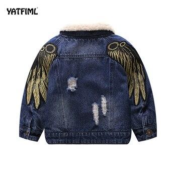YATFIML, 2018, chaqueta de invierno para niñas, niños, ropa bordada de algodón con parches, chaqueta vaquera, trajes 18M-5T