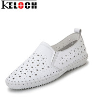Keloch Summer Casual Women Shoes High Quality Genuine Leather Flats Handmade Slip On Ladies Loafers Fisherman