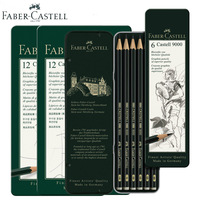 Faber Castell Graphite Pencil 9000 6/12pcs Tin Design Finest Artists Quality Black Colored Wooden Cartoon Sketching Pencil