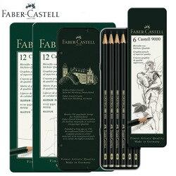Faber Castell grafitowy ołówek 9000 6/12 sztuk projektowania cyny najlepszych artystów jakości czarny kolorowe drewniane Cartoon szkic ołówkiem