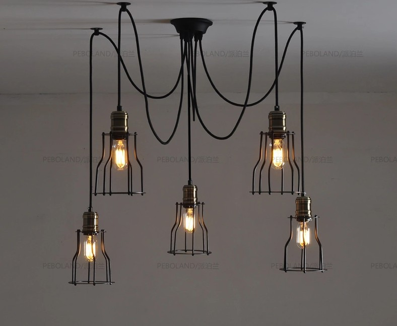 Nordic retro edison bulb pendant chandelier vintage loft antique nordic retro edison bulb pendant chandelier vintage loft antique adjustable diy e27 art spider ceiling lamp lantern fixture in pendant lights from lights mozeypictures Images