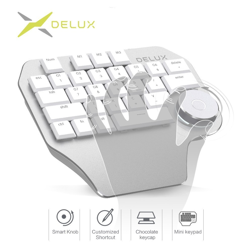 Delux T11 Designer Keyboard with Smart Dial 3 Group Customizable Keys Keypad Compatibility for Wacom Windows