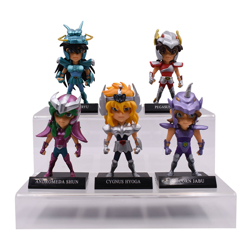 5 pcs/set High Quality Anime Saint Seiya Knights of the Zodiac Action Figure PVC Figurine Collectible Model Christmas Gift Toy free shipping 7pcs anime saint seiya fight version pvc figure toy tall 5cm set 7pcs set saint seiya pvc figure doll collection