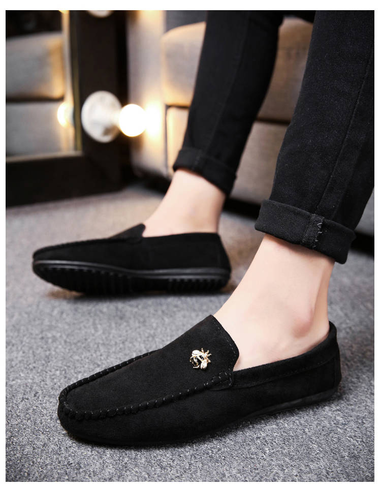 Juyouki Natural Cow Suede Bees Men's Casual Shoes Alligator Style Men Loafers Slip on Lazy Shoes Wiht Male Outdoor Shoes 16