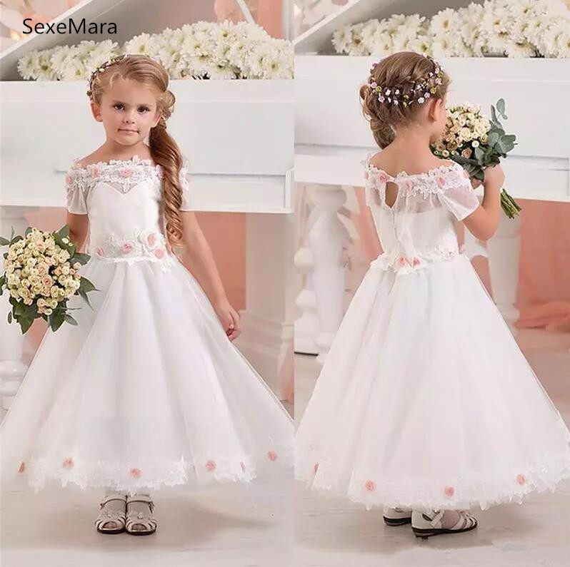 White New First Communion Gown Off Shoulder Neckline Girls Pageant Gowns Flower Girls Dresses Size 2 4 6 8 12 v neckline dropped shoulder sweater
