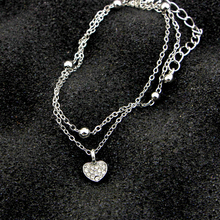 Double Layers Anklets Pendant Bracelet Adjustable Double-stitched Anklets Heart Pendant Bracelet  Foot Chain Beach Party Casual three layers gemstones pendant bracelet watch