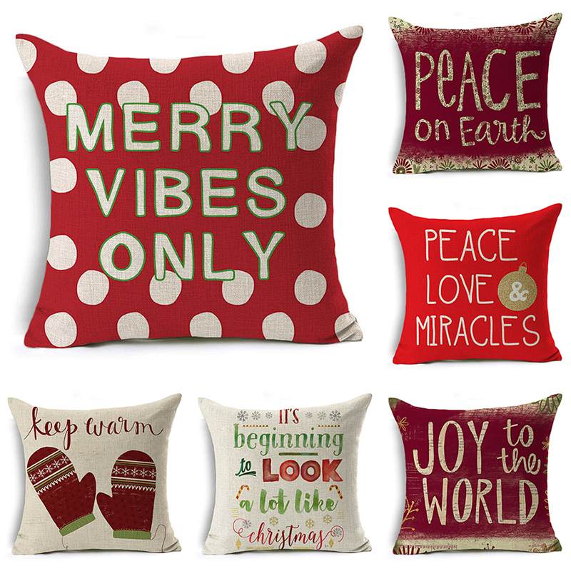 Merry Christmas Pillow Cover Santa Claus Snowman Cushion Cover Letters Decorative Throw Pillow Case Sofa Home Decor almofadas