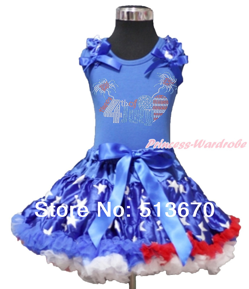 4th July Rhinestone USA Flag Heart Blue Top Patriotic Star Pettiskirt Set 1-8Y MAAS01 4th july america flag style stripe pettiskirt white ruffle tank top 2pc set 1 8year mamg1143