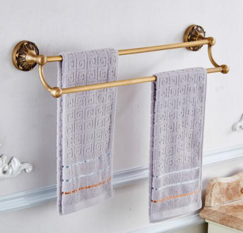 New 24 inch Double Towel Bar,Towel Holder, Towel rack Solid Brass Made,Antique Brass, Bathroom Accessories luxury towel rail new thickened solid brass towel rack single towel bar towel ring black