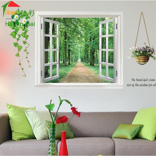 Green woods 3d window diy vinyl wall stickers home decor for Wallpaper designs for living room green