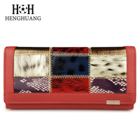 HH Genuine Leather Wallet Women Triold Leather Clutch Purse Long Cellphone Bag Wallet Lady Card Holder