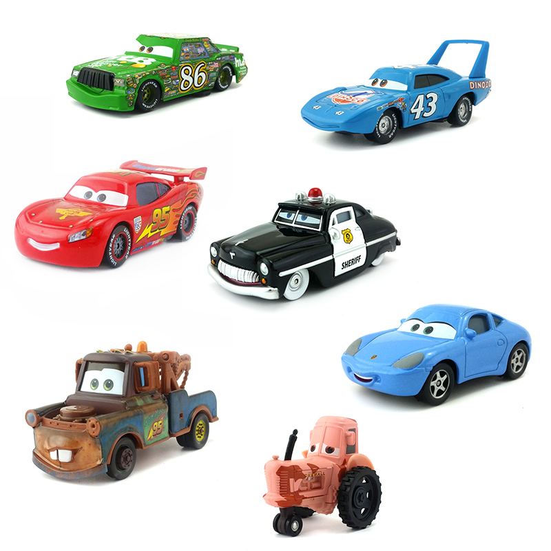 Disney Pixar Cars Lightning McQueen Mater The King Lizzie Finn Mcmissile Tractor 1:55 Diecast Metal Alloy Model Toy Car Gift