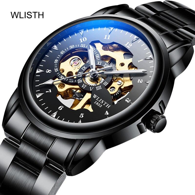 WLISHI  Watch Reloj Hombre Fashion Casual Mechanical Wristwatches Luxury Dual Display Waterproof Luminous Hands Business Watch