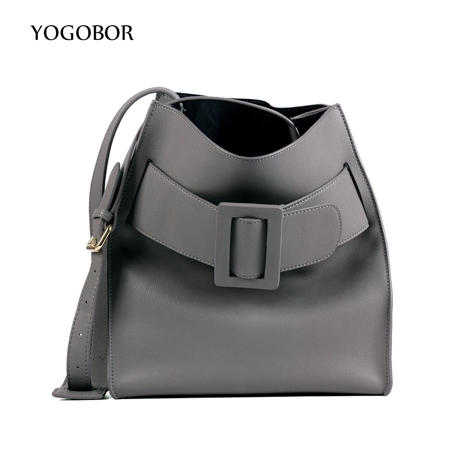 YOGOBOR Women Leather Handbags Black Bucket Shoulder Bags Ladies Cross Body Bags Large Capacity Ladies Shopping Bag Bolsa forudesigns casual women handbags peacock feather printed shopping bag large capacity ladies handbags vintage bolsa feminina